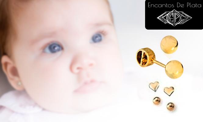 a63bfea031ed S .65 por Aretes de oro 18K para recién nacida o niña.