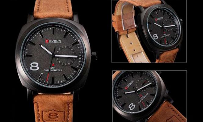 8b21e5bb66fd S  24.90 por Reloj para hombre marca Curren con correa de cuero con dial  blanco o negro¡Luce elegante!