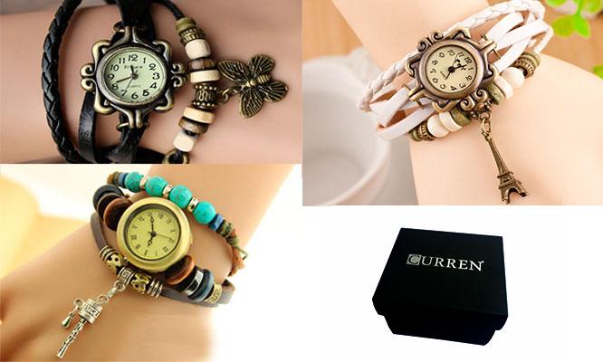 f1e047ce7dc0 San Borja  Set de 3 relojes pulsera vintage en cuero para dama empaque  individual - SAN BORJA